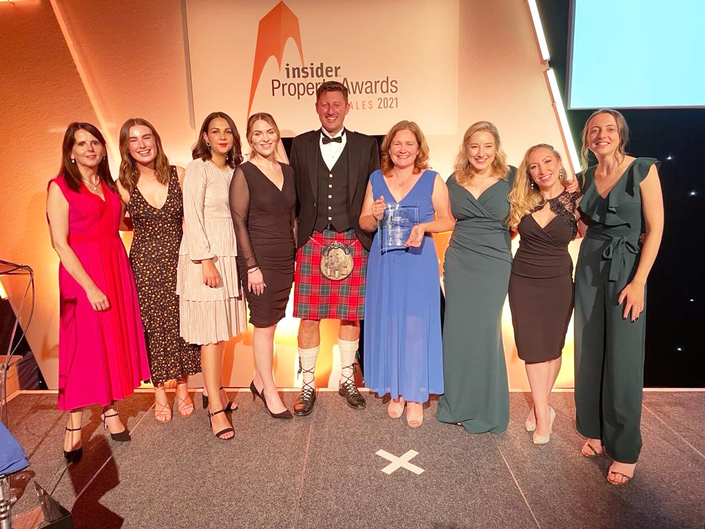 Hugh James team photo for Property Law Firm of the Year Wales 2021 Insider Awards